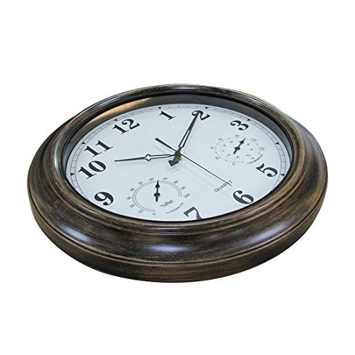 XSHION 18 Inch Wall Clock,Waterproof Outdoor Clock with Thermometer and Hygrometer,Non-Ticking Silent Clock by XSHION (Image #1)