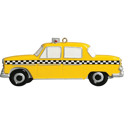 (Personalized Taxi Christmas Tree Ornament 2019 - Yellow Car Checkers Driver Ride Taxicab Vehicle Meter New York City Street Holiday Travel Tourist Gifts Souvenirs NY Year - Free Customization)