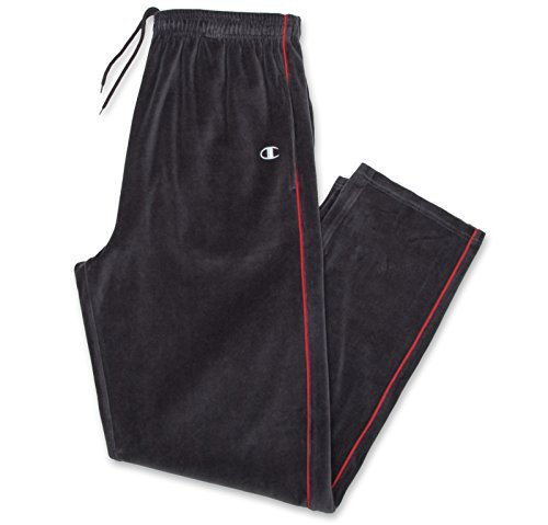 Champion Men's Big & Tall Velour Solid Pant Charcoal Red 4X