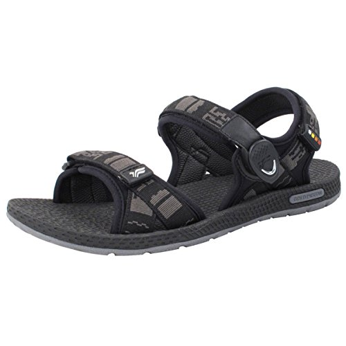 Gold Pigeon Shoes GP5931 Light Weight Adjustable Outdoor Water Sling Back Sandals For Men & Women 8658 Black With Snap Lock