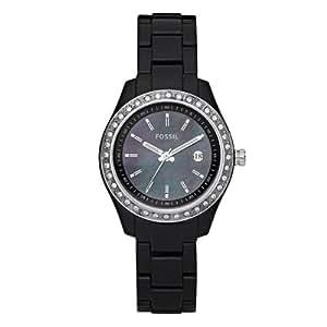 Fossil ES2436 - Reloj para mujeres, correa de plástico color negro