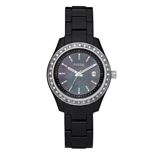 Fossil Women's ES2436 Black Resin Bracelet Mother-of-Pearl Analog Dial ()