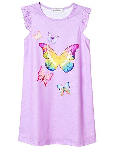 (Girls' Butterfly Nightgowns Sleeveless Sleep Shirts Cotton Nightie Purple)