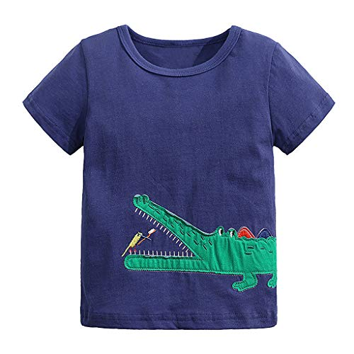 - iZZZHH Toddler Baby Boys Cartoon Crocodile Tshirt,Short Sleeve,O-Neck Navy