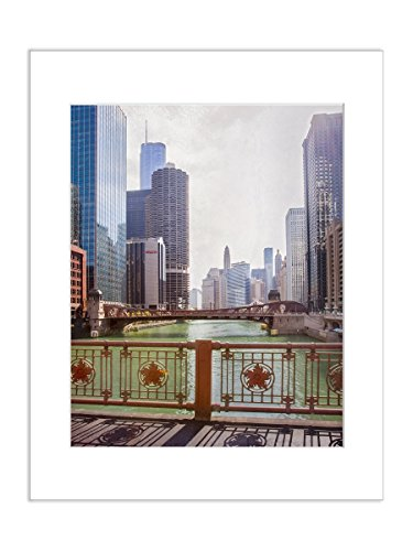 Downtown Chicago River and Skyline Artwork 8x10 Matted Office - Avenue Chicago Michigan Shops On