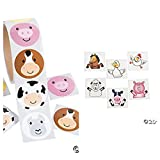 344 pce. Adorable Farm Party Favors/200 FARM ANIMAL Face STICKERS & 144 Farm Animal TATTOOS - COWS Pigs DUCKS - Daycare - DOCTOR - Classroom - Teachers