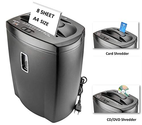 SToK 8 Sheet Cross Cut Paper Shredder 21 Liter Large Waste Bin Capacity with CD/DVD and Credit Card...
