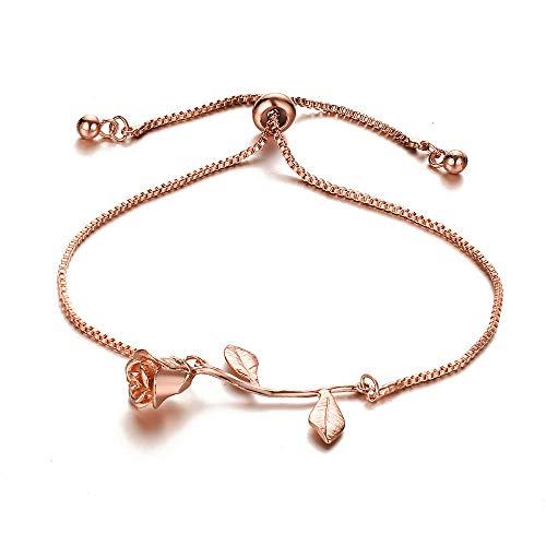 (JczR.Y Fashion Red Rose Chain Bracelet Charm for Women Simple Temperament Flower Bracelet Link Ornaments Jewelry(Rose)