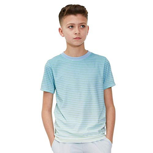 (adidas Melbourne Striped Junior Tennis T-Shirt, Yellow, Age 10-11 )