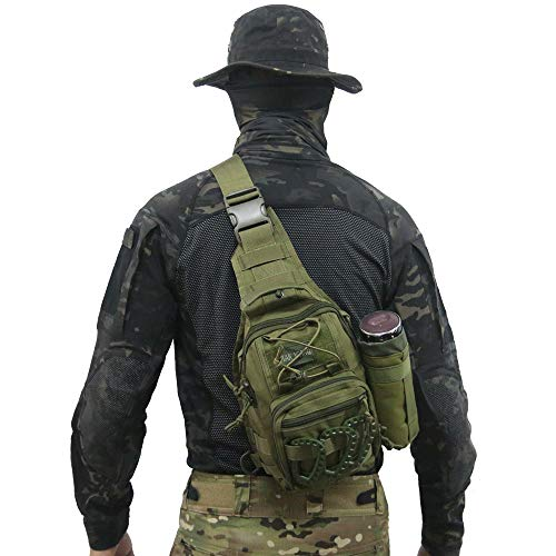 Tactical Bag Backpack, Outdoor Sport Bag Pack Sling Shoulder Bag Small Chest Pack for Traveling Trekking Camping (Army Green)