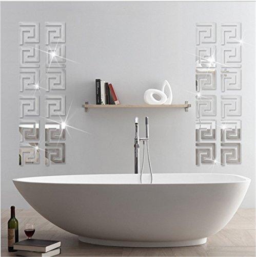 Greek Key Wall Decor : Acrylic mirror wall stickers geometric greek key pattern