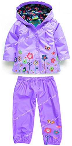 ROLO Spring Children Clothing Sets Sport Suit Tracksuit For Girls Clothes Suits Raincoat Coats Jackets Costume For Girls Kids Clothes Purple (Tescos Halloween Costumes Uk)