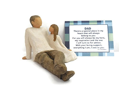 Willow Tree Father and Daughter Figurine - Best Birthday Gifts to Dad/Step-dad from Daughter/Step-daughter -