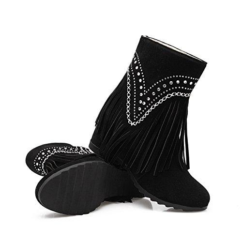 AdeeSu Womens Chunky Heels Heighten Inside VelvetLining Microsuede Boots SXC02612 Black rYrA4653