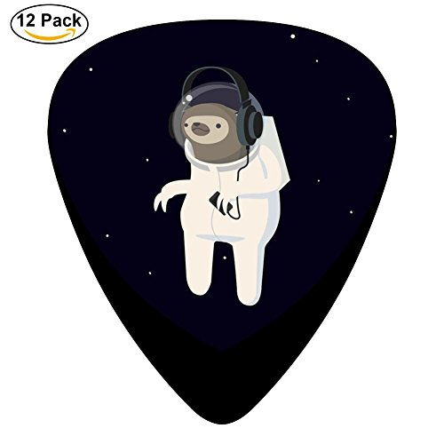 Sloth Astronaut Celluloid Guitar Picks Plectrums For Guitar Bass,12 Pack (Fender Tip Light)