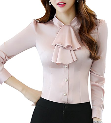 JHVYF Women's Chiffon Long Sleeve Shirt Blouse Bow-Tie Slim Fit Button Down Shirts Pink US 8(Asian Tag 3XL)]()