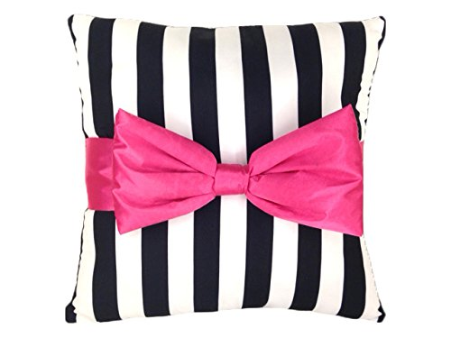 Just For Kids 3 Dimensional Pink Bow with Black/White Stripe Decorative Pillow