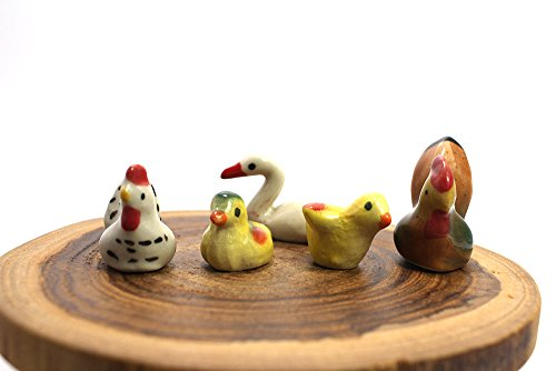 (Chicken Ceramic Toy Mini Animals Dollhouse Miniatures Figurine set 5 pcs.#2)
