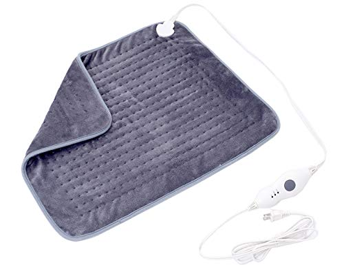 Mosabo Electric Heating Pad XXL Heat Pad Soft Flannel Large Heating Pads for Back Pain 3 Temperature Setting with Auto Shut Off 20''X 24'' Gray