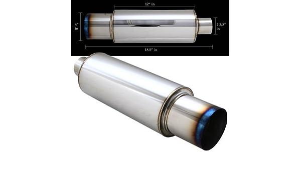 "N1 4/"" Slant Cut Burnt Tip Stainless Steel Body Muffler 2.5/"" Inlet Universal 6"