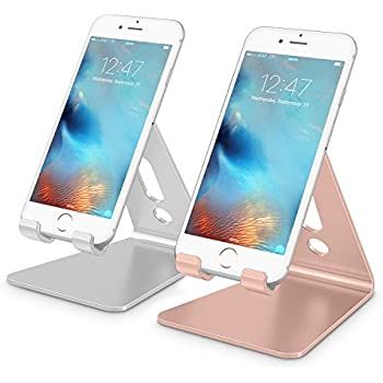 2 Pack Cell Phone Stand OMOTON Desktop Cellphone Tablet Advanced 4mm Thickness Aluminum Holder For Mobile And Up To 101