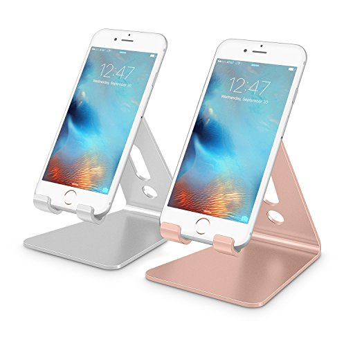 [2 Pack] Cell Phone Stand, OMOTON Desktop Cellphone Stand Tablet Stand, Advanced 4mm Thickness Aluminum Stand Holder for Mobile Phone and Tablet (Up to 10.1 inch), Silver & Rose Gold by OMOTON