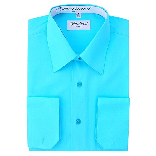 Convertible Cuff Solid Dress Shirt Aqua-S (14-14½) Sleeve 32/33 ()