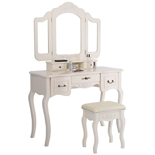 60.2u0027u0027 White Vanity Makeup Dressing Table Set Trifold Mirror Vintage Style  W/ 5
