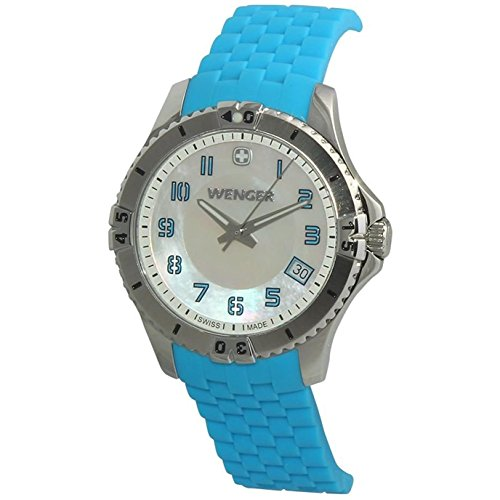 Wenger Ladies' Mother of Pearl Dial Blue Silicone Strap Watch 010121107