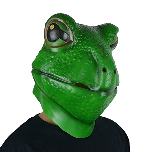 LarpGears Novelty Halloween Costume Frog Latex Mask Animal Mask Adult Size Green -
