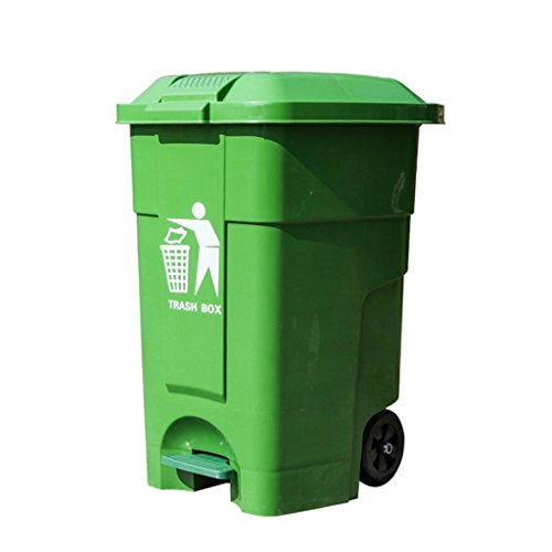 Homelx 50L Outdoor Plastic Pedal Wheelie Bin with Flip Lid, Rectanglar Trash Can Thickened Plastic Commercial Waste Bin with Foot Pedal Bin with Wheel, 50 Liters (Color : Green) ()