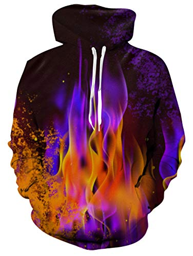 RAISEVERN Unisex: Realistischer 3D-Druck Galaxy Pullover Hoodie Lustiges Katzenmuster mit Kapuze Sweatshirts Taschen für Teenager-Pullover XL Purple Fire