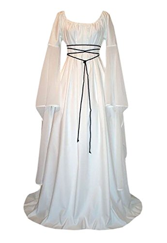 Lynwitkui Women Renaissance Medieval Costume Dress Long Sleeve Cosplay Dress - Plus Size White Queen Halloween Costume