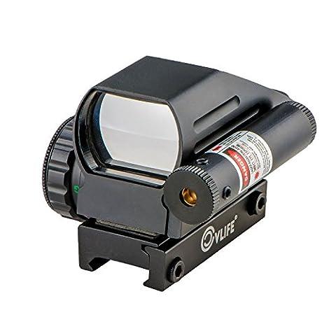 CVLIFE 1x22x33 Reflex Sight Red and Green 4 Reticle Dot Sight with 2mW Gun Sight Laser (Green Dot Laser For Gun)