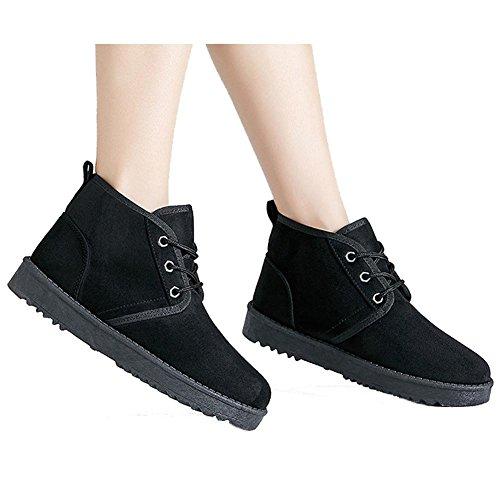 deporte BLACK soporte corto de Suede de cordones gruesos Zapatillas algodón botas Casual mujeres 37 35 BLUE cálido peluche talón Las tobillo de WxRqnT4q