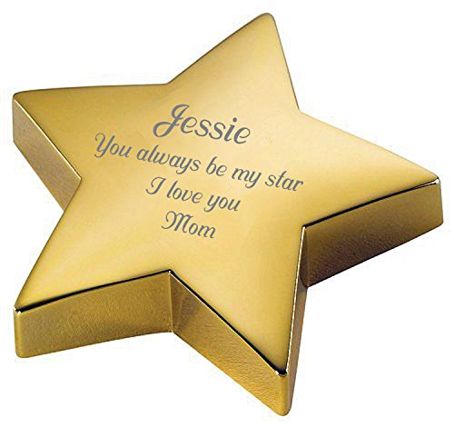 Personalized Gold Star Paperweight Engraved FREE Paper (Personalized Paper Weight)