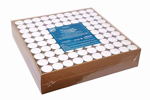 Hosley Set of 500 Aluminium Cup Tea Light White Candles, Unscented. Bulk Buy. Quality Tealights. Ideal for Parties, Weddings, Spa, Aromatherapy. Using a Wax Blend O9 by Hosley