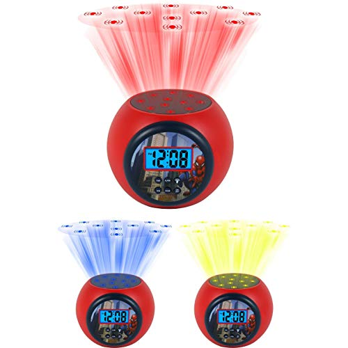 Marvel Spiderman Color Changing Ceiling Projection - Timed Night Light - Alarm Clock