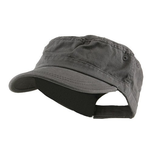 Wholesale Enzyme Washed Cotton Army Cadet Castro Hats (Grey) - 20770  One Size - Army Twill