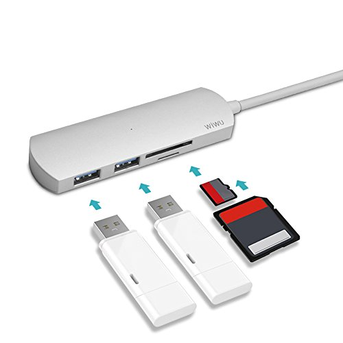 WIWU USB-C Hub with Type C, Aluminum USB 3.0 Ports and SD/TF Card Reader for Apple MacBook 12/New MacBook Pro 13 15 2018-2016 with Thunderbolt 2 port/ChromeBook and More, Multi-Port Adapter - Gray by WIWU