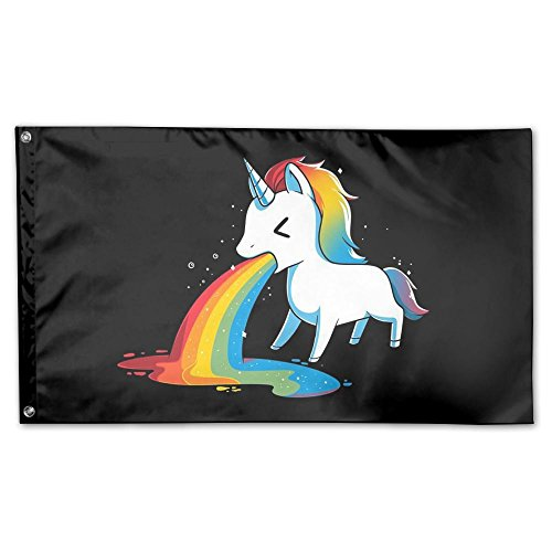 Qinf Flag Funny Rainbow Unicorn Home Garden Flags Polyester