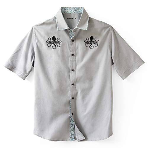 - Bionic Blaze Button up Short-Sleeved Shirt - Slim Fit - Gray - Embroidered Octopus - Floral Accents (Large)