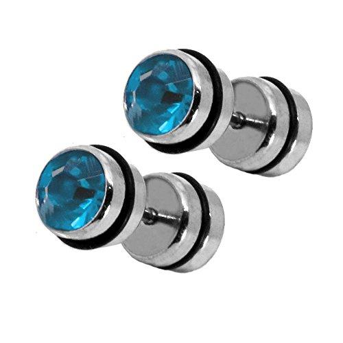tumundo 1 Paire Fake Plugs Boucles d'oreilles Piercing Faux Plugs Femme Strass Acrylique Acier Inoxydable Unisex, modèle:mod 17