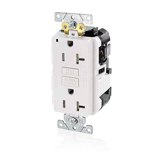Leviton MGFT2-W Lev-Lok Modular Wiring Device 20A-125V Extra-Heavy Duty Industrial Grade Tamper-Resistant Duplex Self-Test GFCI Receptacle, White ()