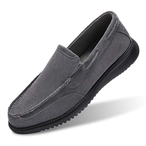 - Men's Boat Shoes Slip On-Smart Casual Work Loafer Stylish Moc Toe Walking Driving Shoes Grey 8
