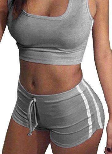 Tuesdays2 Womens Sexy Sports Yoga Crop Tank Top and Shorts 2 Piece Set (M, Gray) - Tank 2 Piece Set