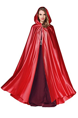 Women's Wedding Hooded Cape Bridal Cloak Poncho Full Length Red ()