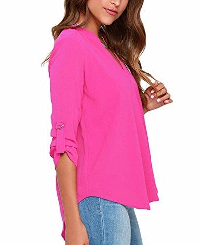 Rose Soie T QIYUN Taille La V En De Mince Shirt Col Mousseline Plus Z Femmes Nouvelles Tops Blouse Profond Ete Rouge Chemises qwr6Rq0