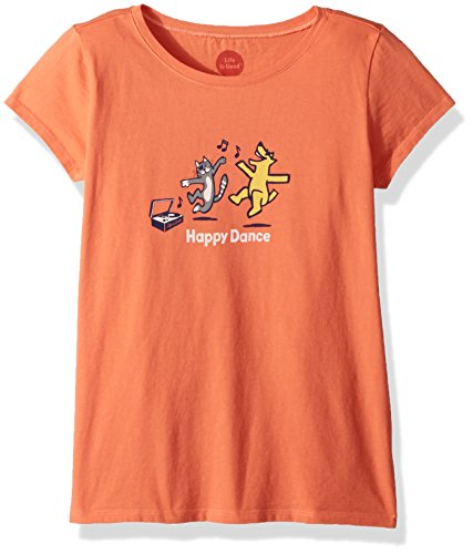(Life is Good Girls Crusher Graphic T-Shirts Collection,Happy Dance,Fresh Coral,Medium)