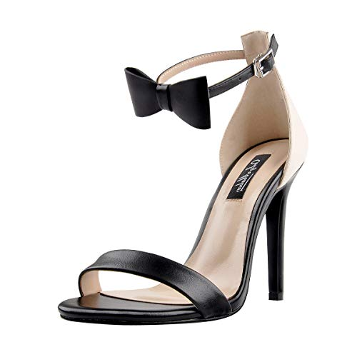 Onlymaker Women's Ankle Strap High Heel Open Toe Sandals with Bow Single Band Party Dating Dress Shoes Black 14 M US (High Heels With Bows On The Side)